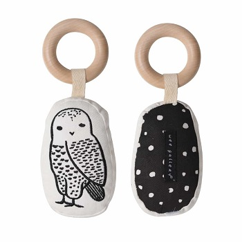 wee gallery organic rattle owl