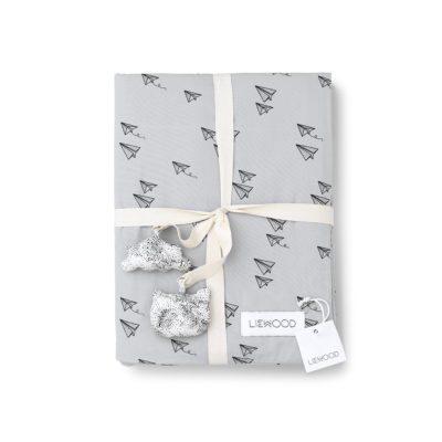 LIEWOOD Bedlinnen paperplane - Dumbo grey