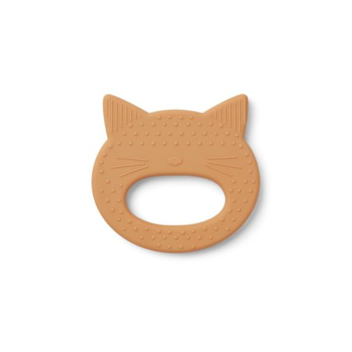 liewood silicone teether cat mustard