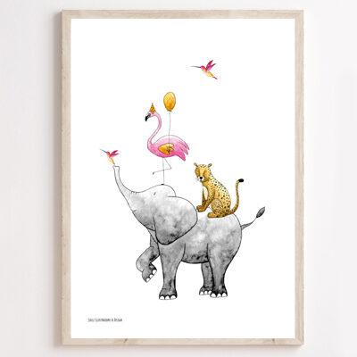 JUULZ Poster - Stapeldieren Roze