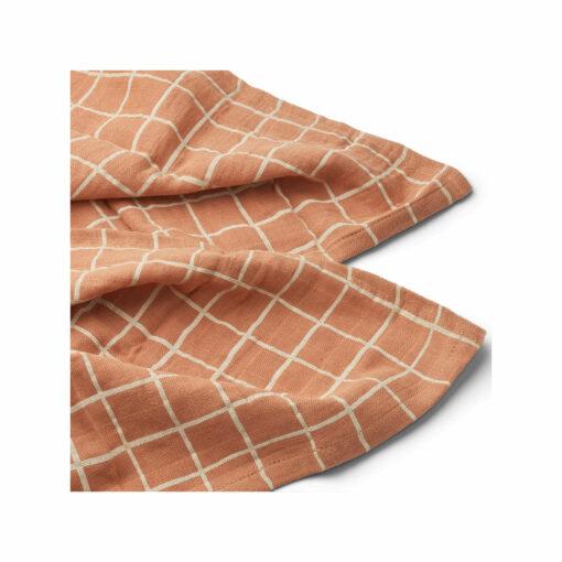 LIEWOOD Lewis Muslin Cloth – Check/Tuscany Rose