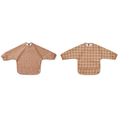 LIEWOOD Bib Cape Merle - Check/Graphic Stroke Tuscany Rose (2-pack)