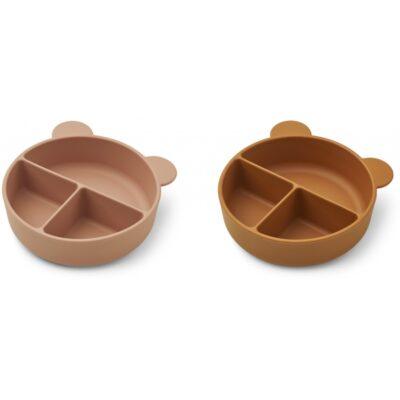 LIEWOOD Divider Bowl Connie - Dark Rose/Mustard (2pack)
